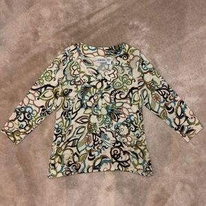 Chico's Patterned Blouse - Green, Brown, Blue
